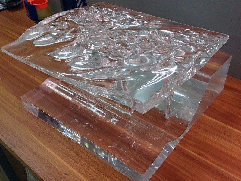 CNC工艺手工高抛光透明水晶武汉建筑模型